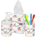 Cats in Love Acrylic Bathroom Accessories Set w/ Couple's Names