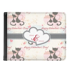 Cats in Love Genuine Leather Men's Bi-fold Wallet (Personalized)