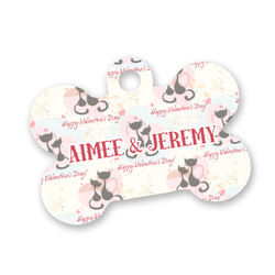 Cats in Love Bone Shaped Dog Tag (Personalized)