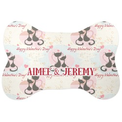 Cats in Love Bone Shaped Dog Food Mat (Personalized)