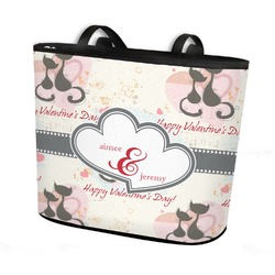 Cats in Love Bucket Tote w/ Genuine Leather Trim (Personalized)
