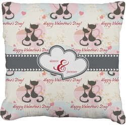 Cats in Love Faux-Linen Throw Pillow (Personalized)
