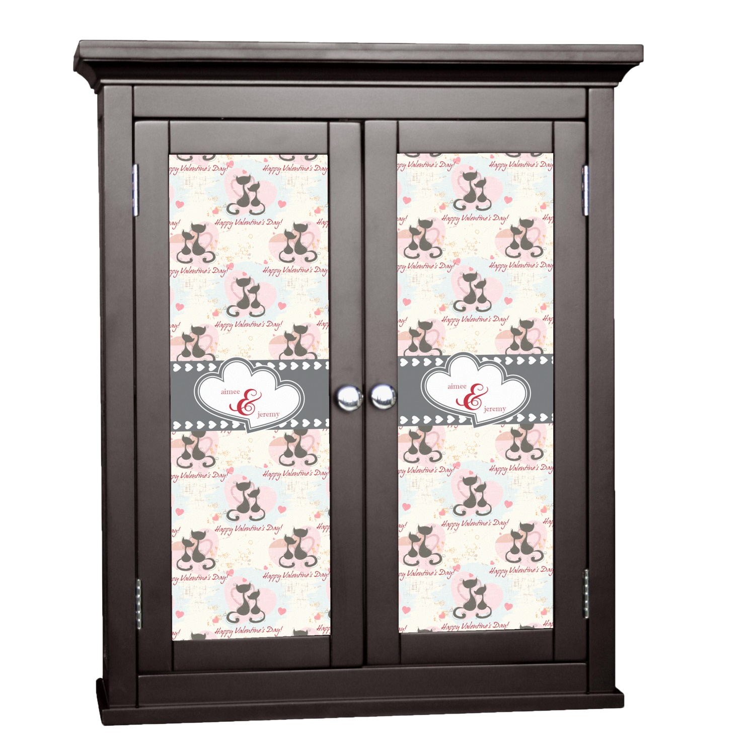 Cats in love cabinet decal large personalized for Kitchen cabinets lowes with how to make decal stickers