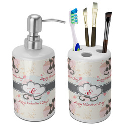 Cats in Love Bathroom Accessories Set (Ceramic) (Personalized)