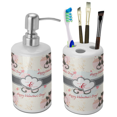 Cats in Love Ceramic Bathroom Accessories Set (Personalized)