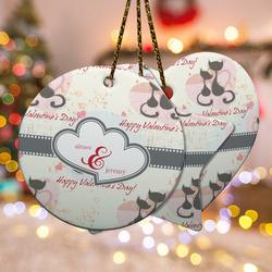 Cats in Love Ceramic Ornament w/ Couple's Names