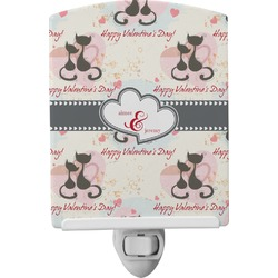 Cats in Love Ceramic Night Light (Personalized)