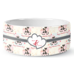 Cats in Love Ceramic Dog Bowl (Personalized)