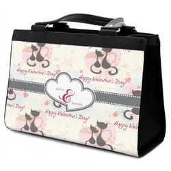 Cats in Love Classic Tote Purse w/ Leather Trim w/ Couple's Names