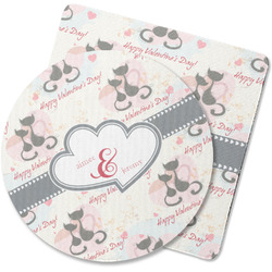 Cats in Love Rubber Backed Coaster (Personalized)