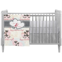 Cats in Love Crib Comforter / Quilt (Personalized)