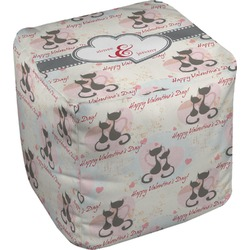 """Cats in Love Cube Pouf Ottoman - 18"""" (Personalized)"""