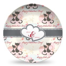 Cats in Love Microwave Safe Plastic Plate - Composite Polymer (Personalized)
