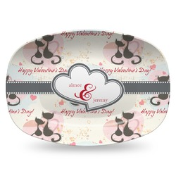 Cats in Love Plastic Platter - Microwave & Oven Safe Composite Polymer (Personalized)