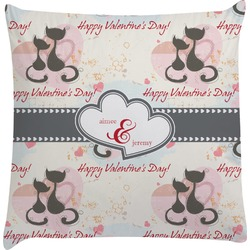 Cats in Love Decorative Pillow Case (Personalized)