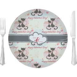 "Cats in Love Glass Lunch / Dinner Plates 10"" - Single or Set (Personalized)"