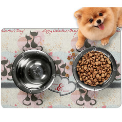 Cats in Love Dog Food Mat - Small w/ Couple's Names