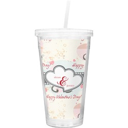 Cats in Love Double Wall Tumbler with Straw (Personalized)