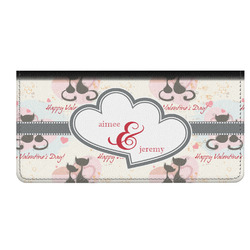 Cats in Love Genuine Leather Checkbook Cover (Personalized)