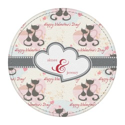 Cats in Love Round Desk Weight - Genuine Leather  (Personalized)