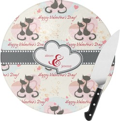 Cats in Love Round Glass Cutting Board (Personalized)
