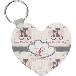 Cats in Love Heart Keychain (Personalized)
