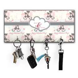 Cats in Love Key Hanger w/ 4 Hooks (Personalized)