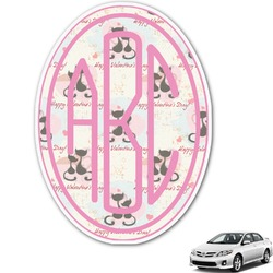 Cats in Love Monogram Car Decal (Personalized)