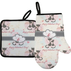 Cats in Love Oven Mitt & Pot Holder (Personalized)