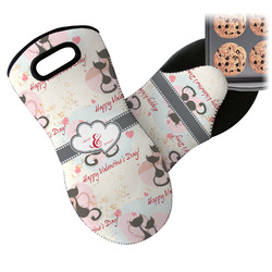 Cats in Love Neoprene Oven Mitts w/ Couple's Names