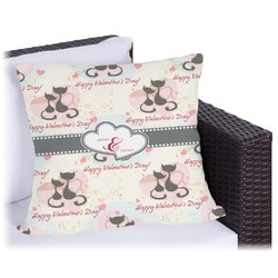 Cats in Love Outdoor Pillow (Personalized)