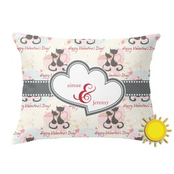 Cats in Love Outdoor Throw Pillow (Rectangular) (Personalized)