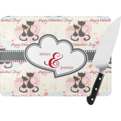 Cats in Love Rectangular Glass Cutting Board (Personalized)