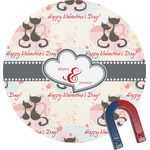 Cats in Love Round Fridge Magnet (Personalized)