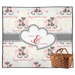 Cats in Love Outdoor Picnic Blanket (Personalized)