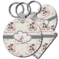 Cats in Love Plastic Keychains (Personalized)