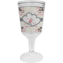 Cats in Love Wine Tumbler - 11 oz Plastic (Personalized)