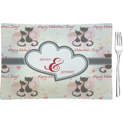 Cats in Love Glass Rectangular Appetizer / Dessert Plate - Single or Set (Personalized)
