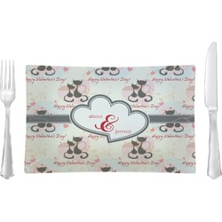 Cats in Love Glass Rectangular Lunch / Dinner Plate - Single or Set (Personalized)