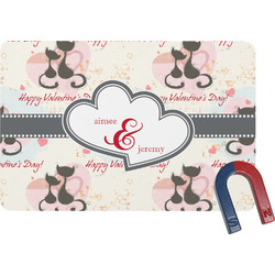 Cats in Love Rectangular Fridge Magnet (Personalized)
