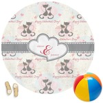 Cats in Love Round Beach Towel (Personalized)
