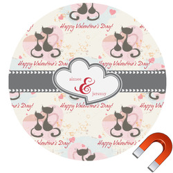 Cats in Love Round Car Magnet (Personalized)