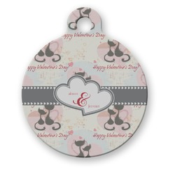 Cats in Love Round Pet Tag (Personalized)