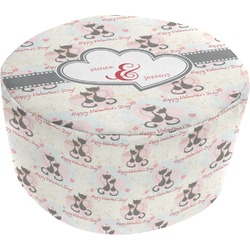 Cats in Love Round Pouf Ottoman (Personalized)