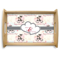 Cats in Love Natural Wooden Tray (Personalized)