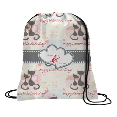 Cats in Love Drawstring Backpack (Personalized)