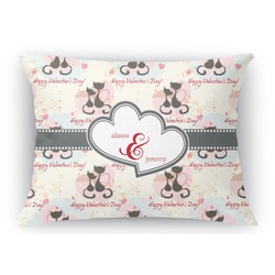 Cats in Love Rectangular Throw Pillow Case (Personalized)