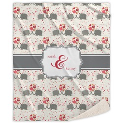 Elephants in Love Sherpa Throw Blanket (Personalized)