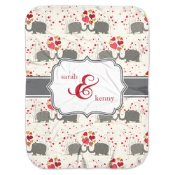 Elephants in Love Baby Swaddling Blanket (Personalized)