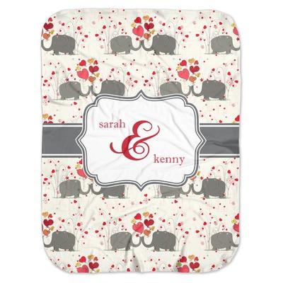 Elephants in Love Baby Swaddling Blanket (Personalized)